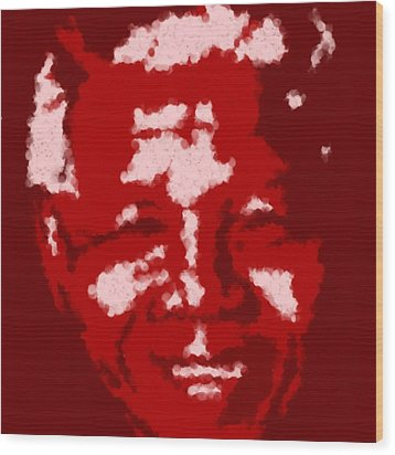 Mandela South African Icon  Red In The South African Flag Symbolizes The Struggle For Freedom Painti Wood Print by Asbjorn Lonvig