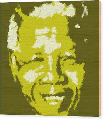 Mandela South African Icon  Yellow In The South African Flag Symbolizes Mineral Wealth Painting Wood Print by Asbjorn Lonvig
