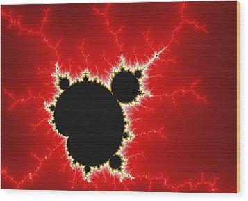 Mandelbrot Fractal Art Black White And Bold Red Wood Print by Matthias Hauser