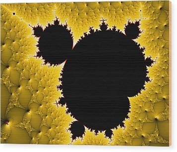 Mandelbrot Set Black And Yellow Fractal Art Wood Print