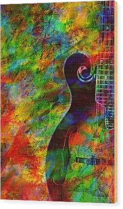 Mandolin Magic Wood Print by Ally  White