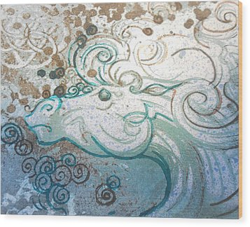 Mane View Wood Print by Corina Graves