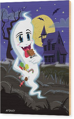 Manga Sweet Ghost At Halloween Wood Print by Martin Davey