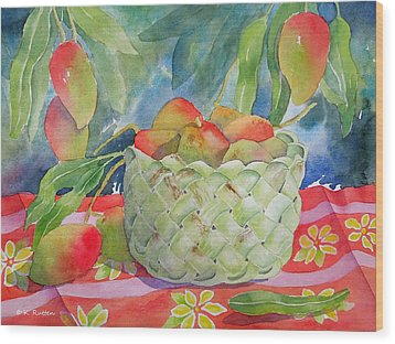 Mango Harvest Wood Print by Kathleen Rutten