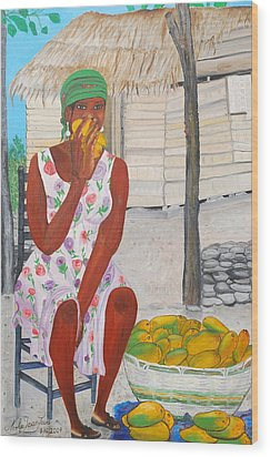 Mango Merchant Woman Wood Print by Nicole Jean-Louis