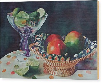 Mango With A Twist Of Lime Wood Print by Leslie Berman