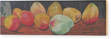 Mangoes On The Barbie Wood Print by Hilda and Jose Garrancho