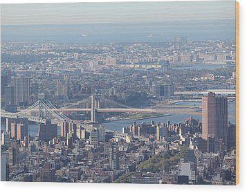Wood Print featuring the photograph Manhattan And Brooklyn Bridge by David Grant