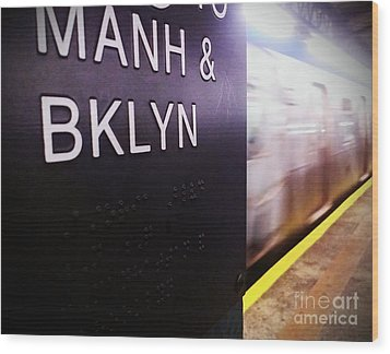 Manhattan And Brooklyn Wood Print by James Aiken