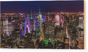 Wood Print featuring the photograph Manhattan At Night 2 by Chris McKenna