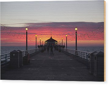 Manhattan Beach Sunset Wood Print