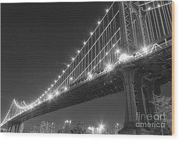 Manhattan Bridge At Twilight Wood Print by AHcreatrix