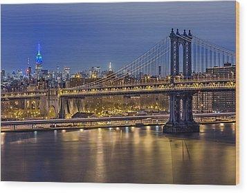 Manhattan Bridge Wood Print by Eduard Moldoveanu