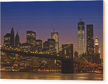 Manhattan By Night Wood Print by Melanie Viola