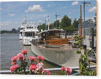 Manhattan Cruise Boat Wood Print