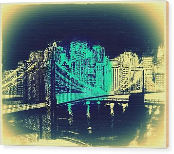 Manhattan In Blue Wood Print by Irving Starr