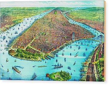 Manhattan Island 1879 Wood Print by Padre Art