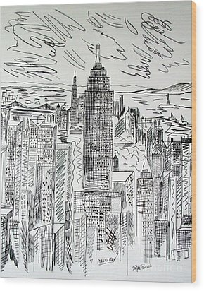 Wood Print featuring the drawing Manhattan by Janice Rae Pariza