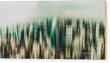 Manhattan Panorama Abstract Wood Print by Hannes Cmarits