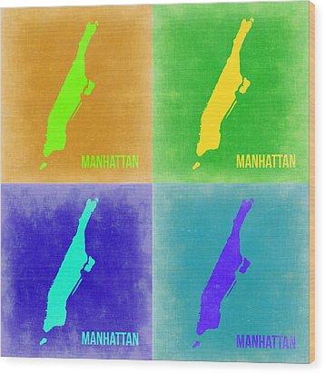 Manhattan Pop Art Map 2 Wood Print by Naxart Studio