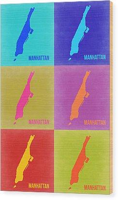 Manhattan Pop Art Map 3 Wood Print by Naxart Studio