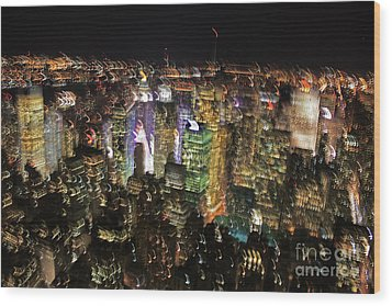 Wood Print featuring the photograph Manhattan Skyline Empire State Wobbles by Andy Prendy