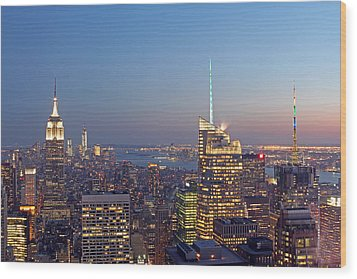 Manhattan Skyline From The Top Of The Rock Wood Print by Juergen Roth