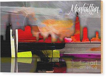 Manhattan Skyline Watercolor Wood Print