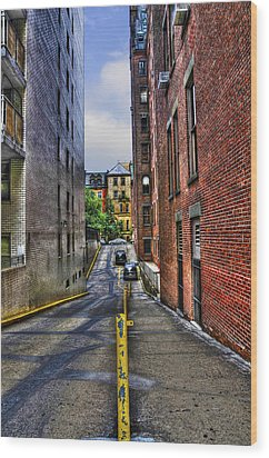 Manhattan Theater District Alley Wood Print by Randy Aveille