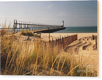 Manistee Lighthouse Wood Print by Crystal Nederman