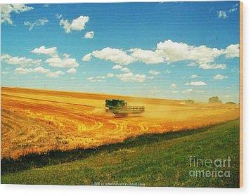 Mankato Nebraska Wheat Harvest Wood Print by PainterArtist FIN