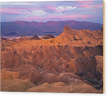 Manley Beacon From Zabriskie Point Wood Print by Mike Norton