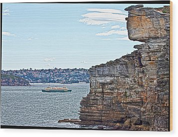 Manly Ferry Passing By  Wood Print by Miroslava Jurcik