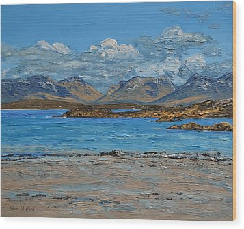 Mannin Bay And The Twelve Bens Mountains Connemara Ireland Wood Print