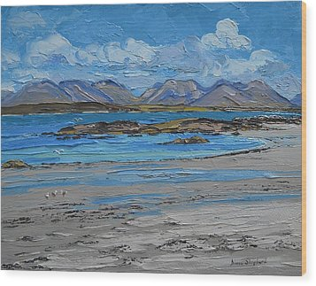 Mannin Bay Beach Ballyconneelly Connemara Wood Print