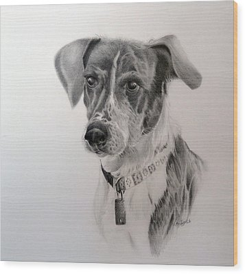 Wood Print featuring the drawing Man's Best Friend by Lori Ippolito