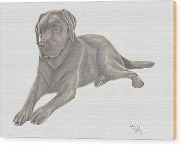 Wood Print featuring the drawing Man's Best Friend by Patricia Hiltz