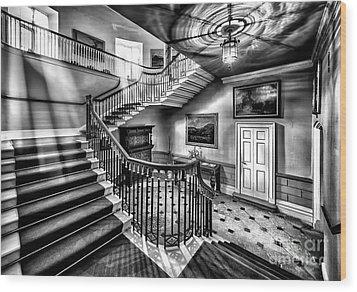Mansion Stairway V2 Wood Print by Adrian Evans