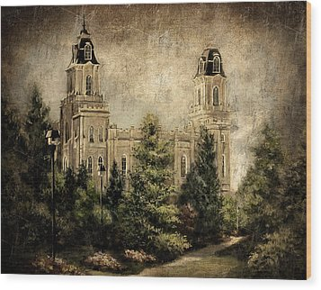 Manti Utah Temple-pathway To Heaven Antique Wood Print