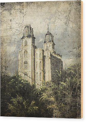 Manti Utah Temple Sentinel Antique Wood Print