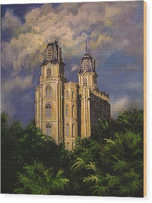 Manti Utahtemple Sentinel Wood Print