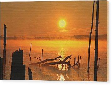 Mantis Sunrise Wood Print by Roger Becker
