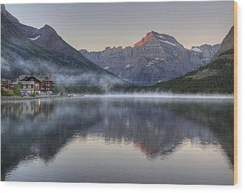 Many Glacier Hotel On Swiftcurrent Lake Wood Print