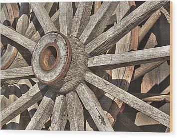 Many Wooden Wheels Wood Print by Phyllis Denton