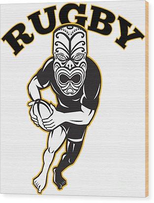 Maori Mask Rugby Player Running With Ball Wood Print by Aloysius Patrimonio