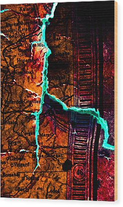 Map 01 Wood Print by Grebo Gray