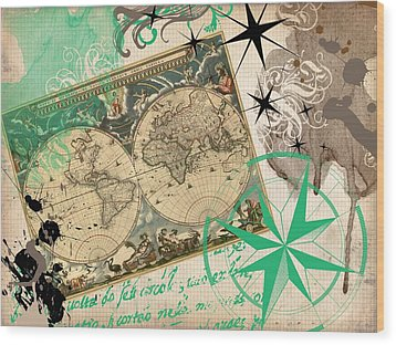 Map Collage Wood Print by Cindy Edwards