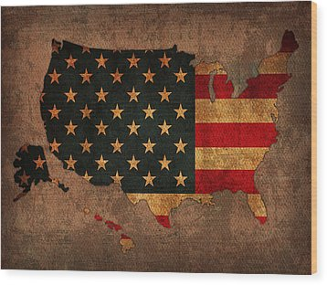Map Of America United States Usa With Flag Art On Distressed Worn Canvas Wood Print by Design Turnpike