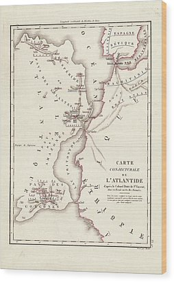 Map Of Atlantis Wood Print by Library Of Congress, Geography And Map Division