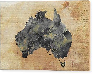 Map Of Australia Grunge Wood Print by Daniel Hagerman